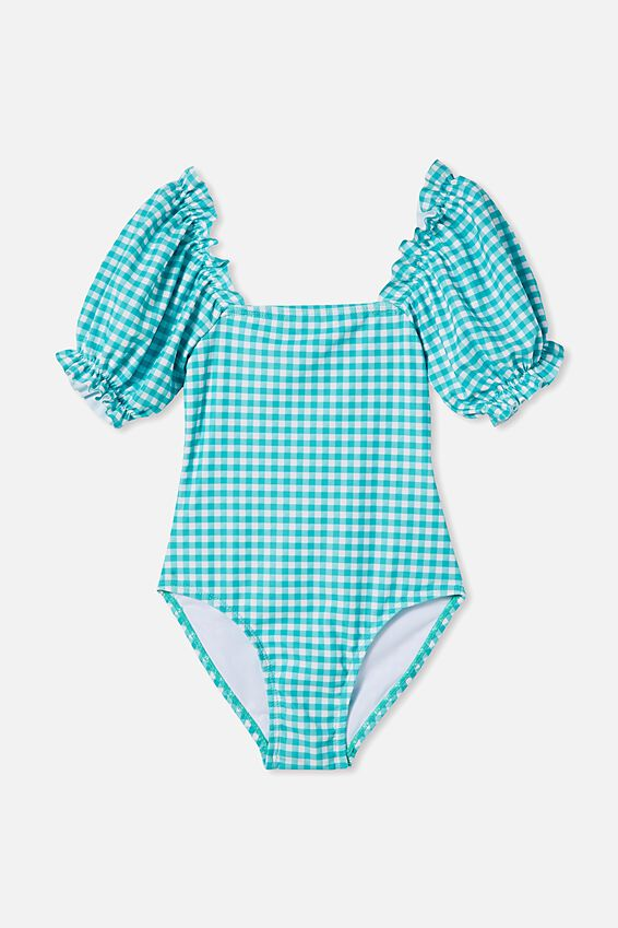 Paige Puff Sleeve One Piece, TROPICAL AQUA GINGHAM