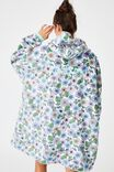 Personalised Snugget Adults Oversized Hoodie, RETRO FLORAL/CRYSTAL PINK