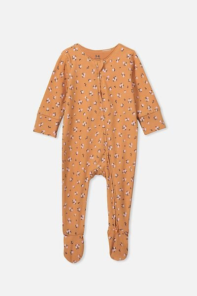 The Long Sleeve Zip Romper, TERRACOTTA RUST/LUCY FLORAL