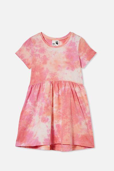 Freya Short Sleeve Dress, MUSK MELON TIE DYE