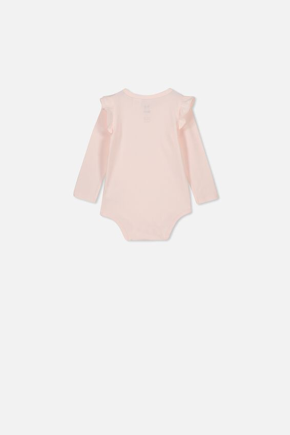 Long Sleeve Ruffle Bubbysuit, CRYSTAL PINK