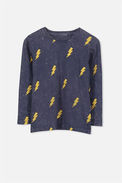 Tom Long Sleeve Tee, NAVY SW LIGHTNING BOLTS/SIS