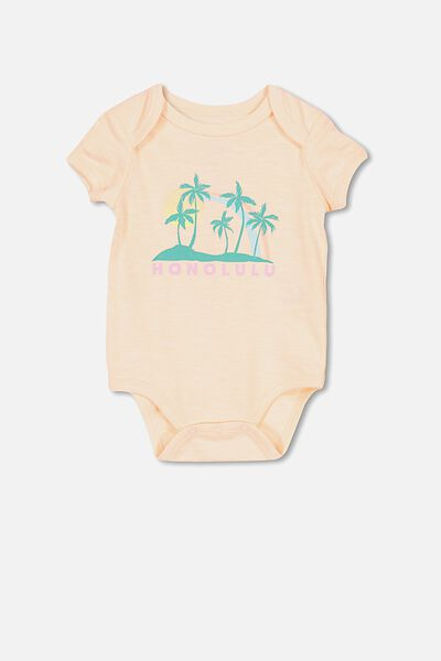Mini Short Sleeve Bubbysuit, PALE PEACH/HONOLULU