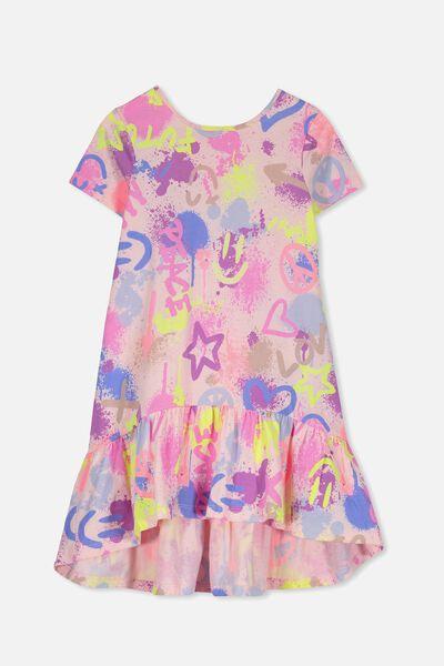 Joss Short Sleeve Dress, PEARL PINK/GRAFFITI