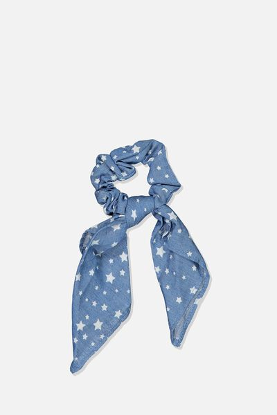 Scarf Scrunchie, CHAMBRAY BLUE/STARS