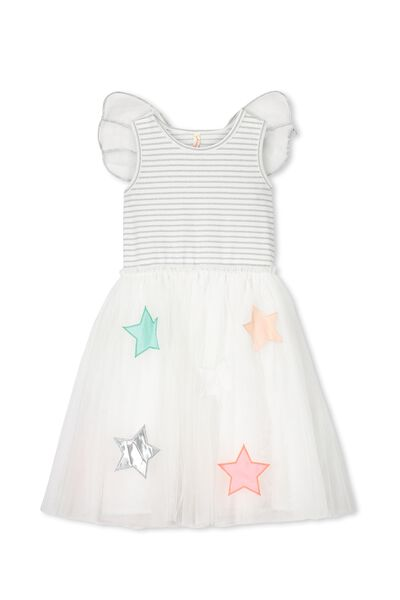 Iris Tulle Dress, SILVER WINGS/STARS