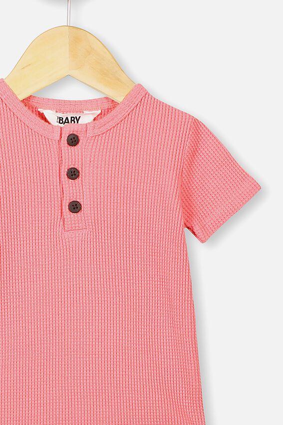 The Short Sleeve Waffle Bubbysuit, RETRO CORAL