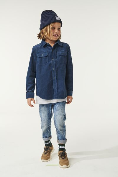 Noah Long Sleeve Shirt, INDIGO BLUE CORDUROY