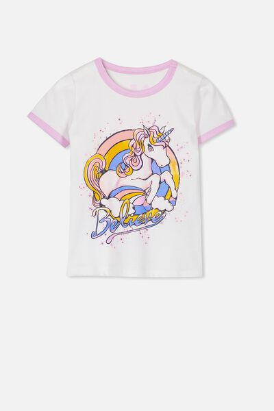 Penelope Short Sleeve Tee, WHITE/UNICORN BELIEVE/RINGER