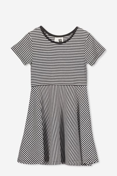 Riley Short Sleeve Dress, BLACK/WHITE STRIPE