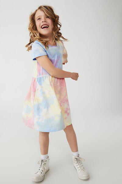 Freya Short Sleeve Dress, RAINBOW TIE DYE
