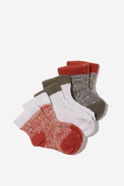3Pk Baby Socks, SILVER SAGE CHUTNEY MARLE RIB