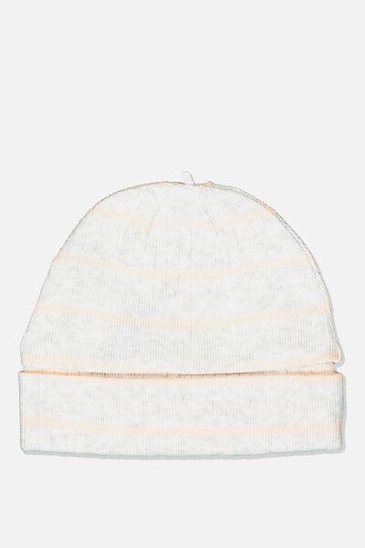 Newborn Beanie, MAX STRIPE SOFT GREY MARLE/PEACH