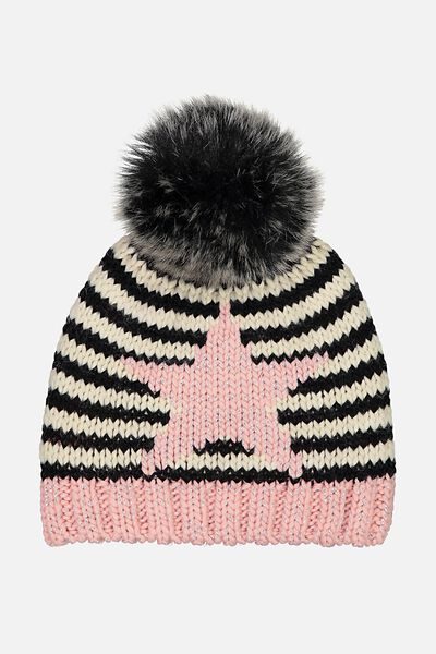 Winter Knit Beanie, STRIPE/STAR