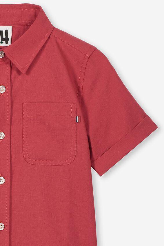 Resort Short Sleeve Shirt, BURNT RED OXFORD