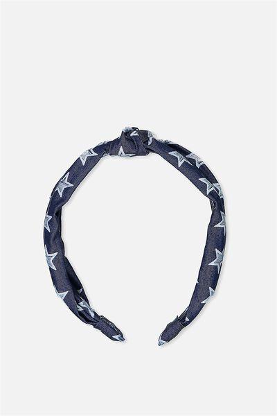 Printed Knot Headband, CHAMBRAY STAR