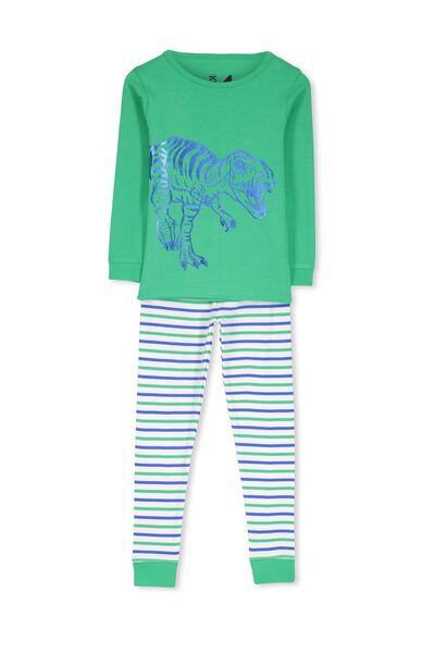 Dan Long Sleeve Boys PJs, BLUE FOIL DINO