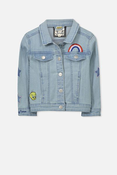 Lux Dolly Denim Jacket, LOONEY TUNES/EMBROIDERY/BLEACHWASH