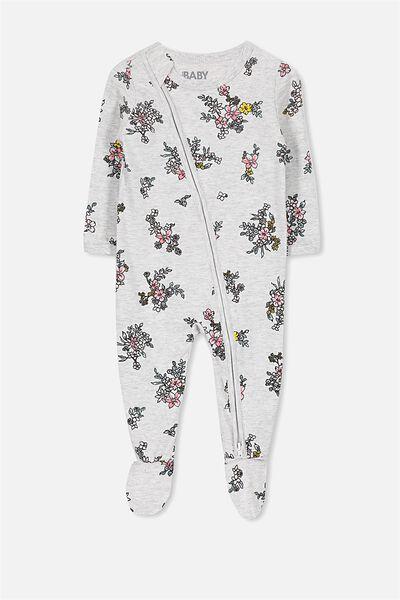 Sleep Mini Zip All In One Jumpsuit, CLOUD MARLE/WATERCOLOUR FLORAL