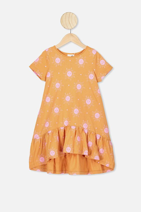 Joss Short Sleeve Dress, APRICOT SUN/SUNNY FACES