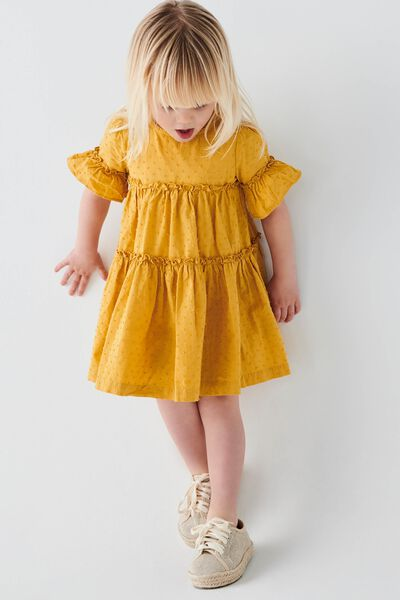 Abby Flutter Dress, HONEY GOLD