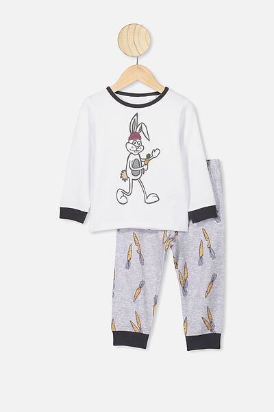 Noah Long Sleeve Pj Set, WHITE/SUMMER GREY MARLE SOME BUNNY