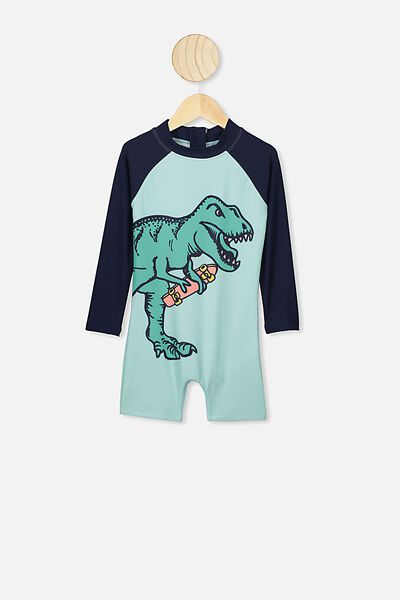 Oscar Ls All In One Swimsuit, YUCCA/SKATE DINO