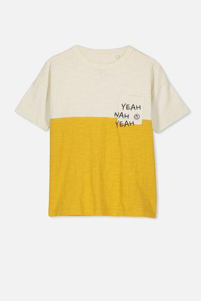 Tobi Short Sleeve Spliced Tee, VINTAGE VANILLA/GOLD GLOW SPLICE
