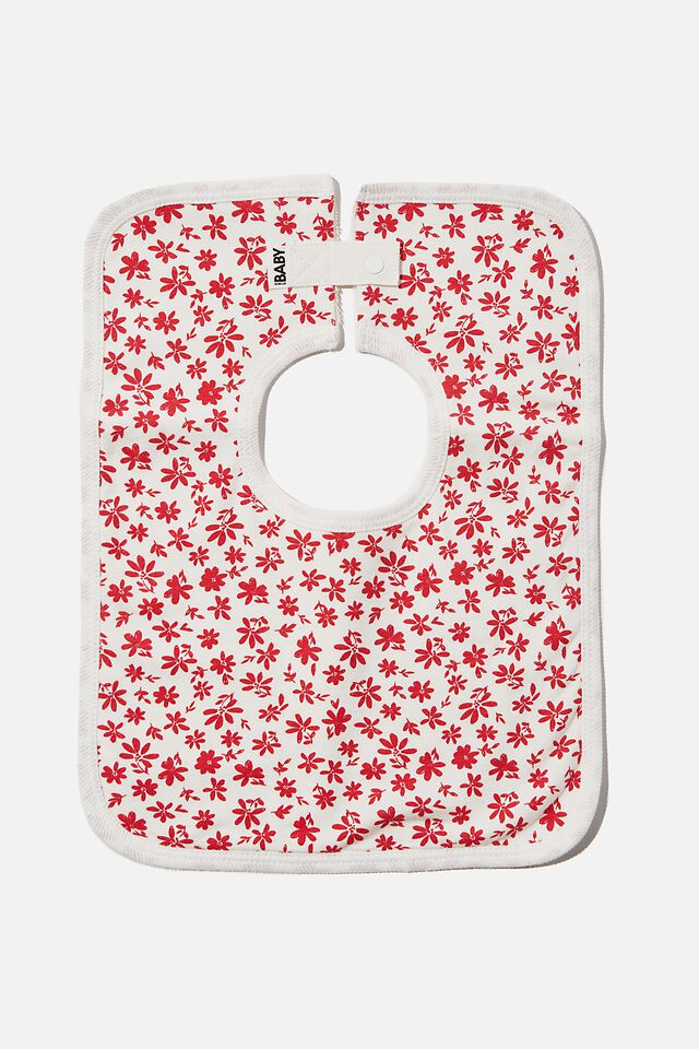 The Square Bib, VANILLA/LUCKY RED TAYLOR FLORAL