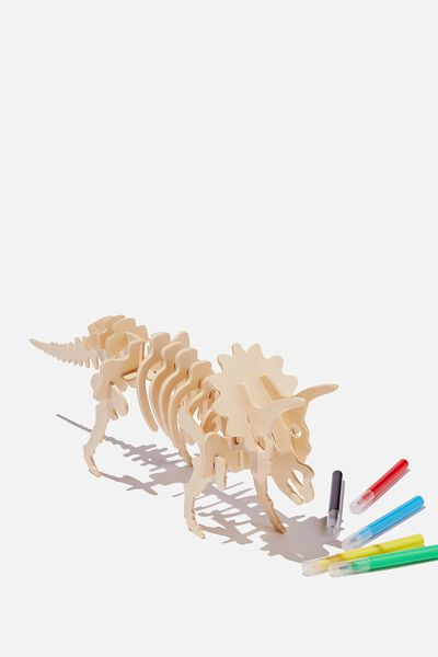 Wooden 3D Puzzle And Markers, TRICERATOPS