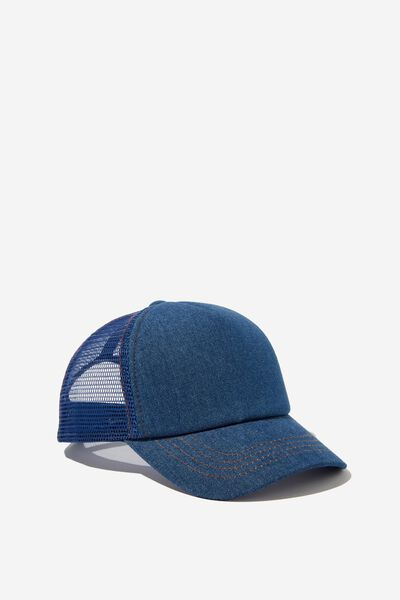Kids Trucker Cap, MID BLUE DENIM