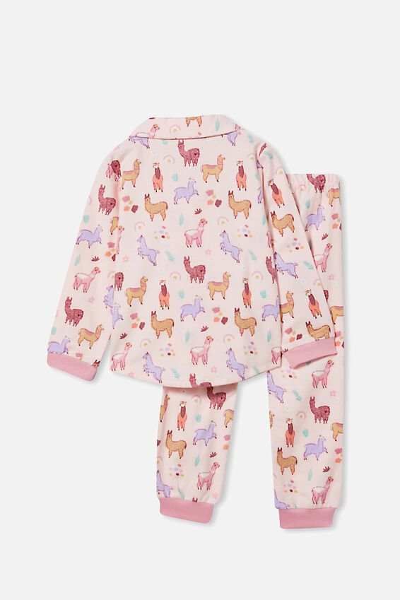 Angie Long Sleeve Pyjama Set, LLAMAS/CRYSTAL PINK