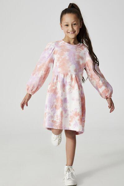 Flora Long Sleeve Dress, PALE VIOLET/MELON TIE DYE