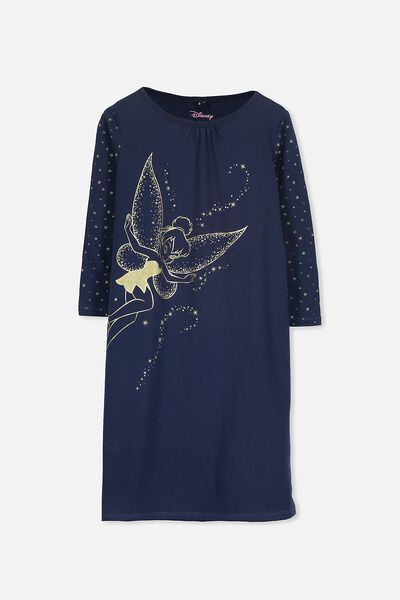 Laura Long Sleeve Long Nightie, TINKERBELL MAGIC