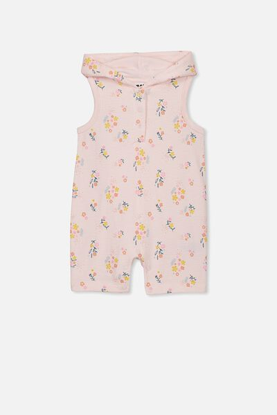 Riley Hooded Playsuit, CRYSTAL PINK/NORA FLORAL