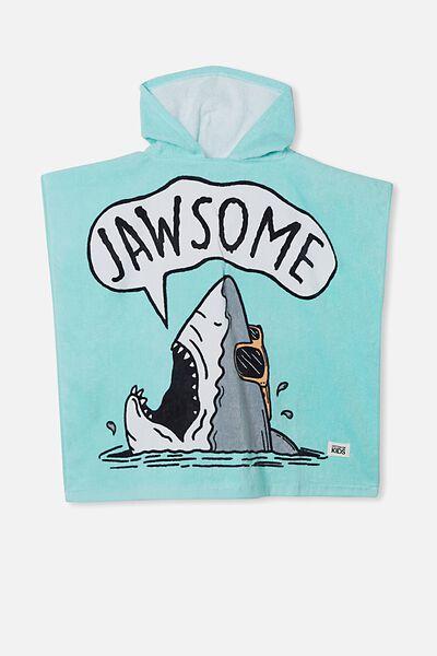 Kids Hooded Towel, DREAM BLUE JAWSOME