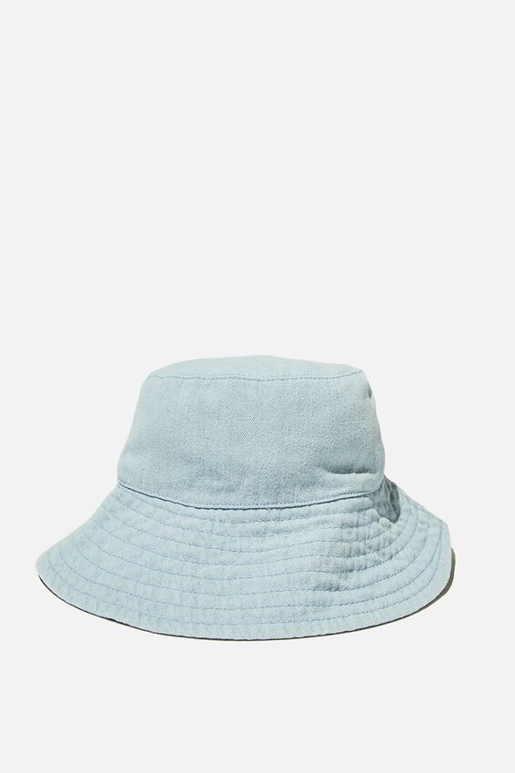 Wide Brim Bucket Hat, PALE BLUE CHAMBRAY