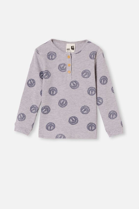 Ryan Waffle Long Sleeve Pyjama Set, SMILEY FACE SUMMER GREY MARLE