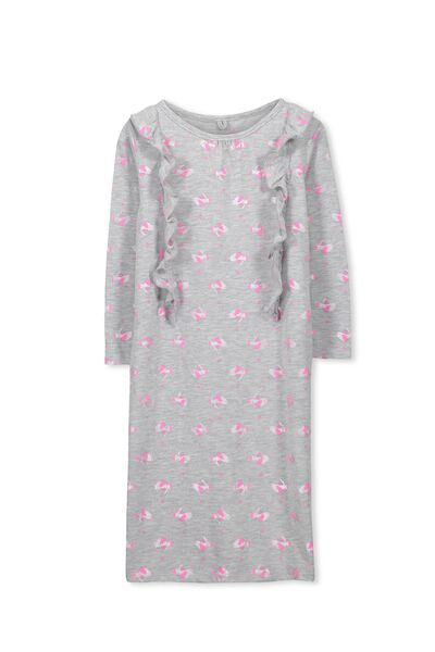 Lily Long Sleeve Longline Nightie, RAINBOW BIRDS