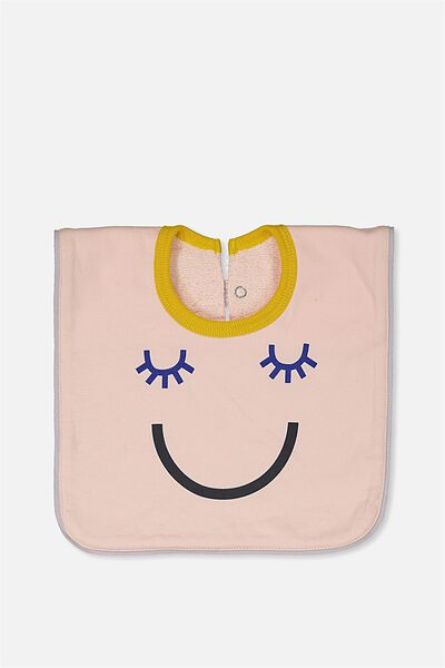 Hansel And Gretel Babies Bib, SHELL PEACH/HAPPY FACE
