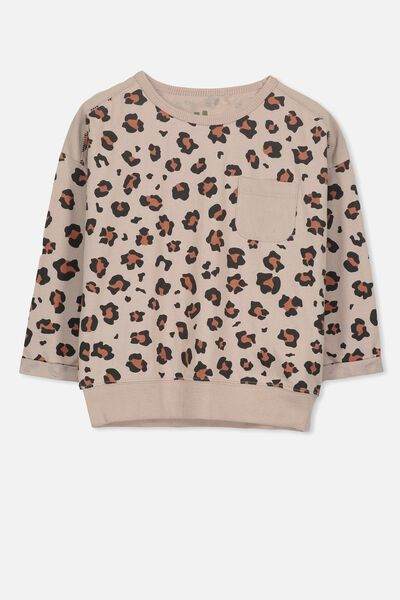 Lucia Long Sleeve Tee, MUSHROOM/ANIMAL