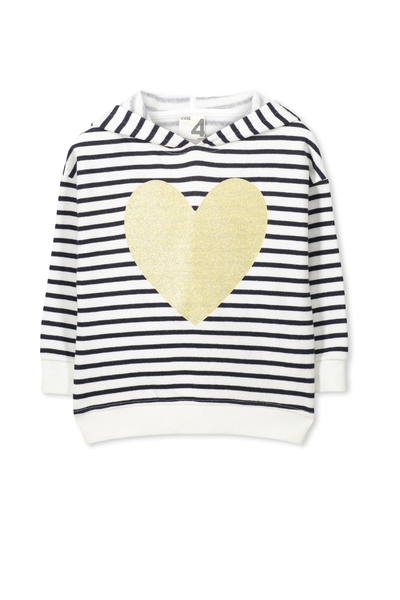 Scarlett Fleece Hoodie, VANILLA/PEACOAT STRIPE HEART