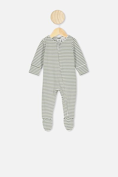 The Long Sleeve Zip Romper, CHRIS STRIPE SILVER SAGE/WHITE