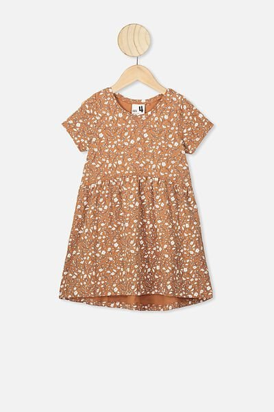 Freya Short Sleeve Dress, AMBER BROWN/SPRIGGY FLORAL