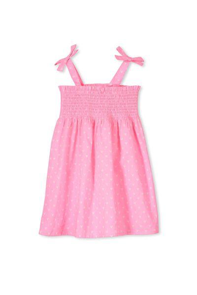 Alexis Shirred Dress, PINK GLOW/VANILLA HEARTS