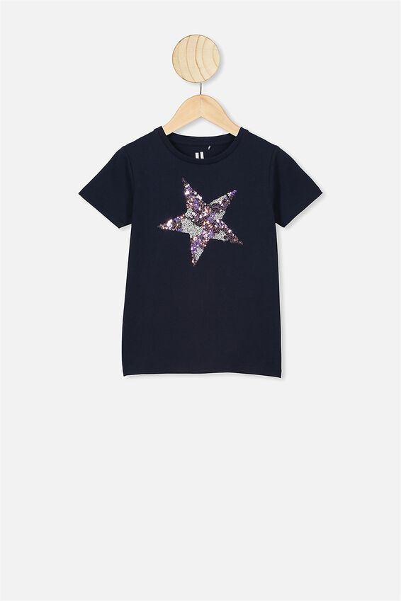 Stevie Short Sleeve Embellished Tee, NAVY BLAZER/SPARKLE STAR