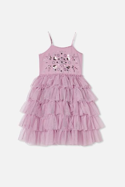 Iris Dress Up Dress, CHALKY MAUVE TIERED/FLORAL