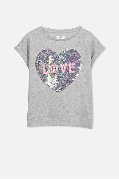 Anna Ss Stepped Hem, LIGHT GREY MARLE/SEQUIN HEART