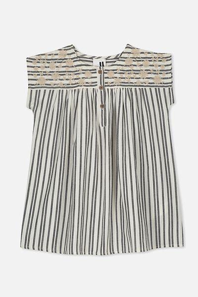 Penny Short Sleeve Dress, PHANTOM/DARK VANILLA