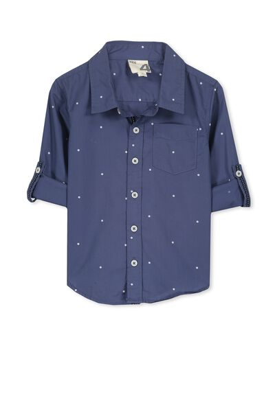 Noah Long Sleeve Shirt, DARK BLUE/SPOT